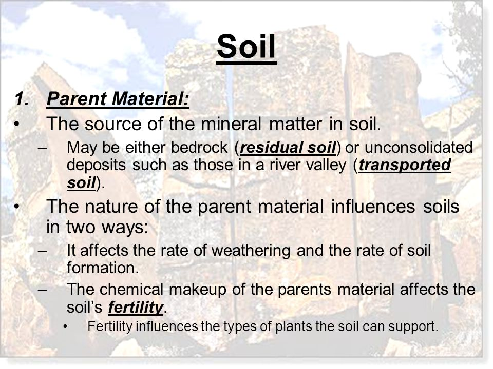 The source of the mineral matter in soil.