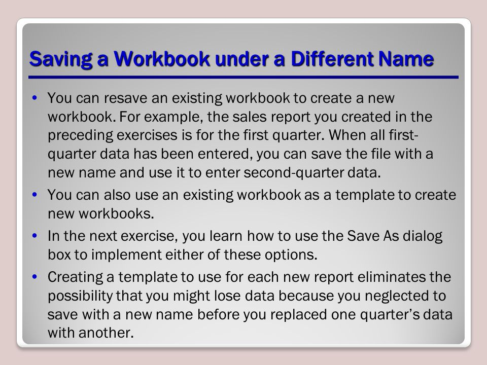 Saving a Workbook under a Different Name