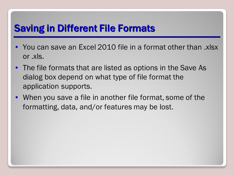 Saving in Different File Formats