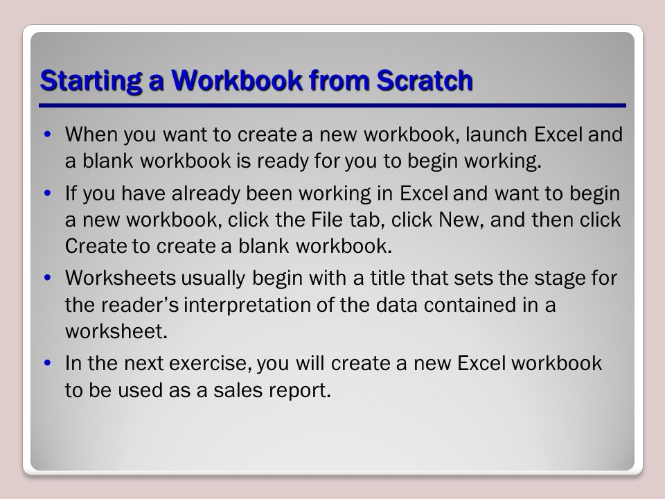 Starting a Workbook from Scratch