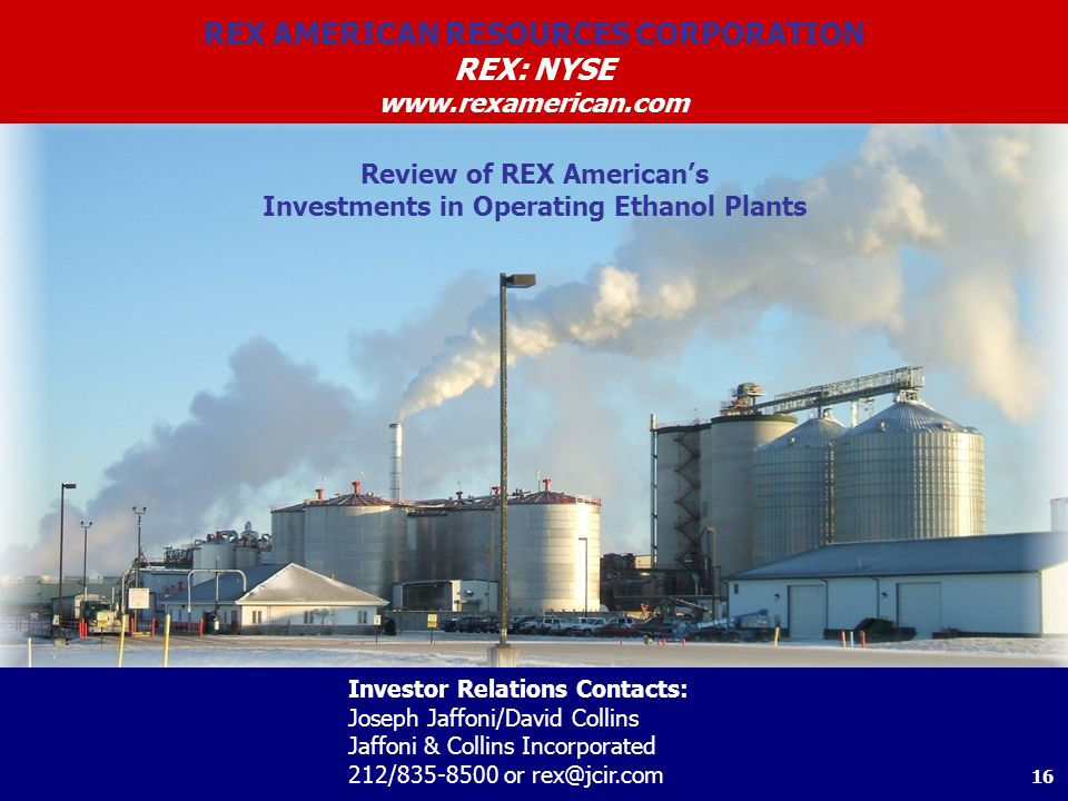 REX AMERICAN RESOURCES CORPORATION REX: NYSE