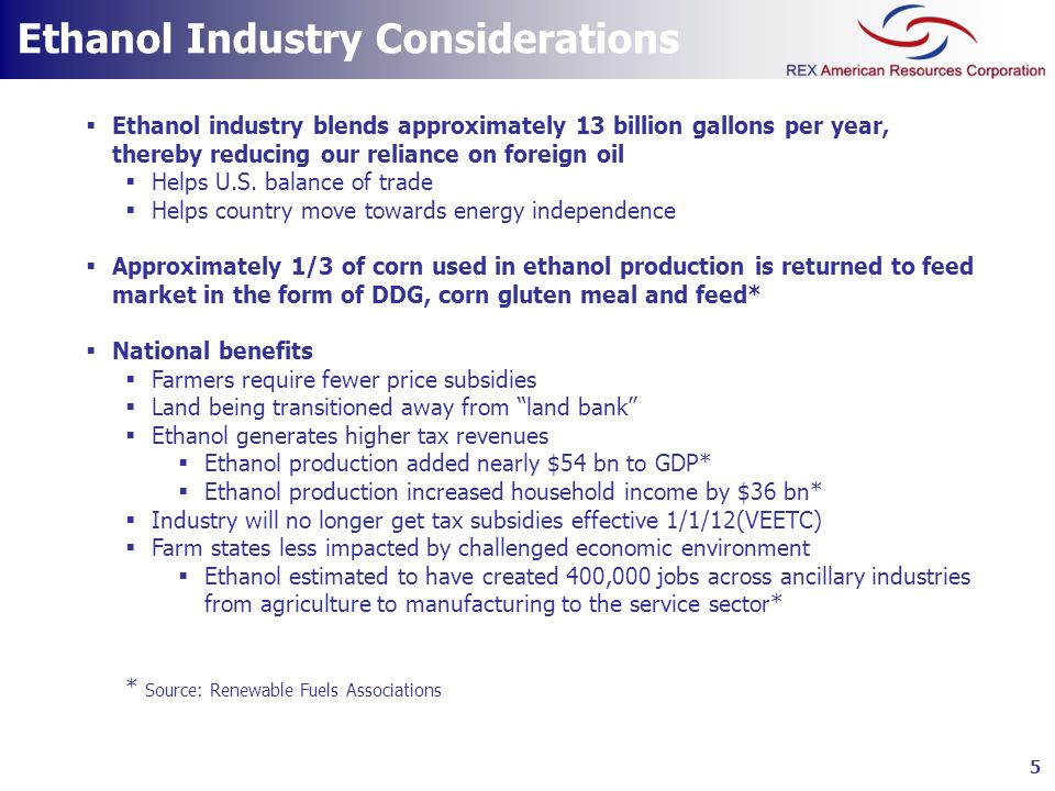 Ethanol Industry Considerations