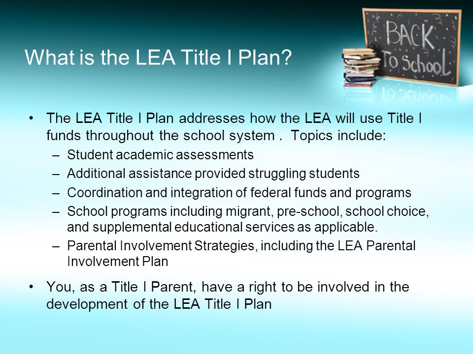 What is the LEA Title I Plan