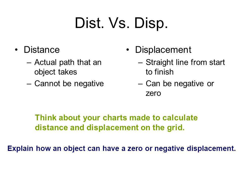 Explain how an object can have a zero or negative displacement.