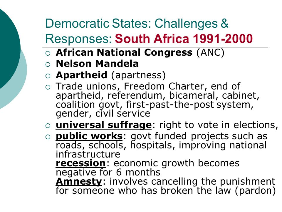 Democratic States: Challenges & Responses: South Africa 1991-2000