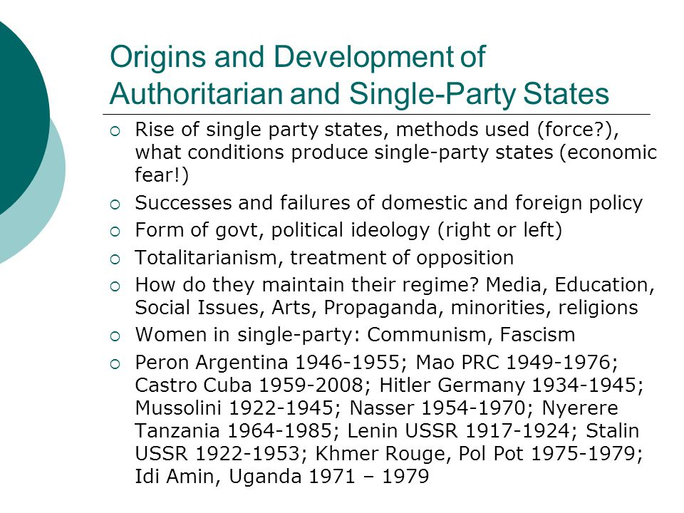 Origins and Development of Authoritarian and Single-Party States