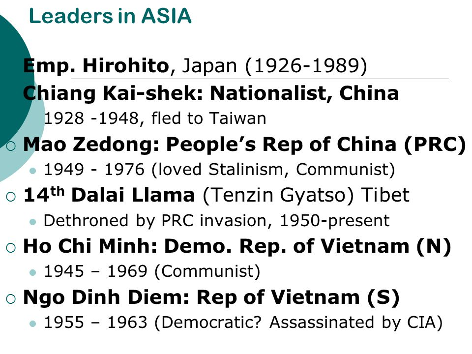 Leaders in ASIA Emp. Hirohito, Japan (1926-1989)