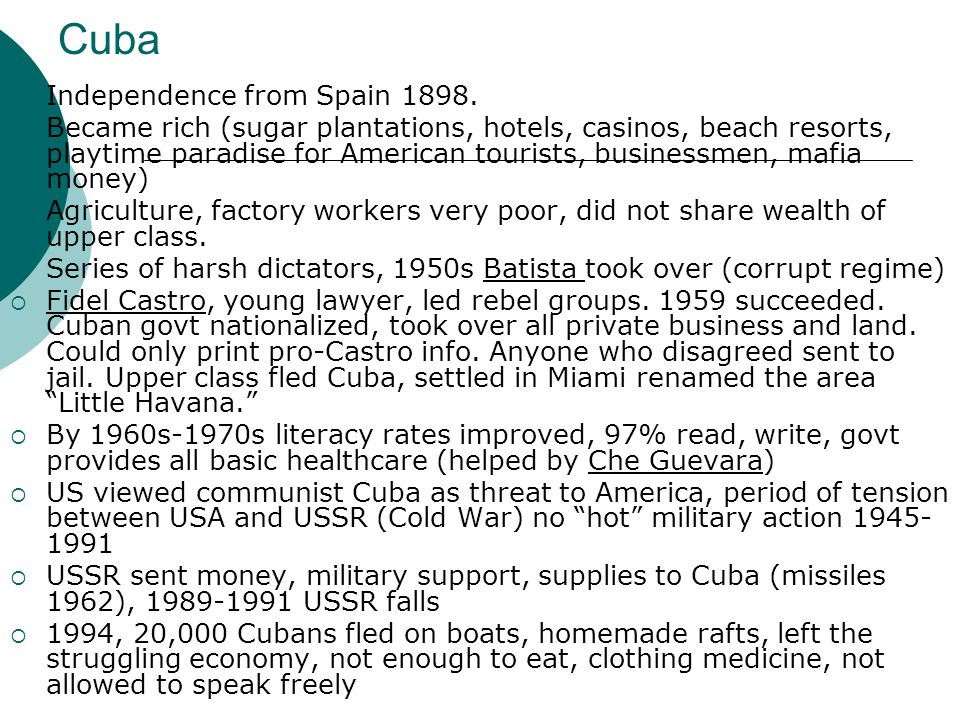 Cuba Independence from Spain 1898.