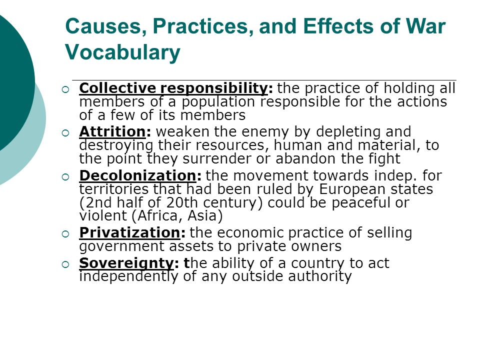 Causes, Practices, and Effects of War Vocabulary