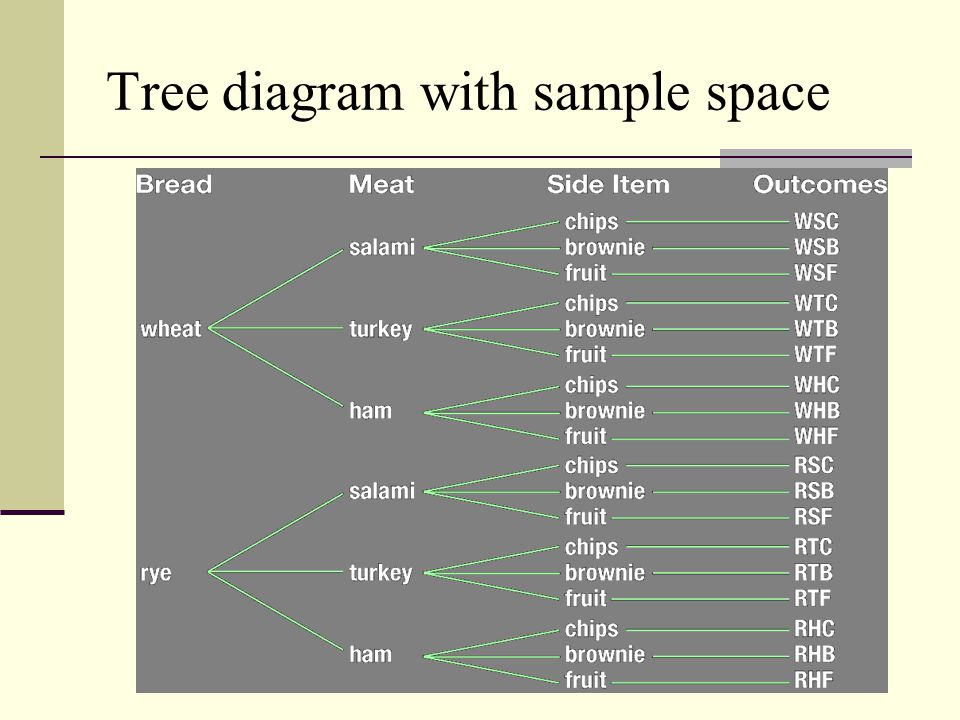 Tree diagram with sample space