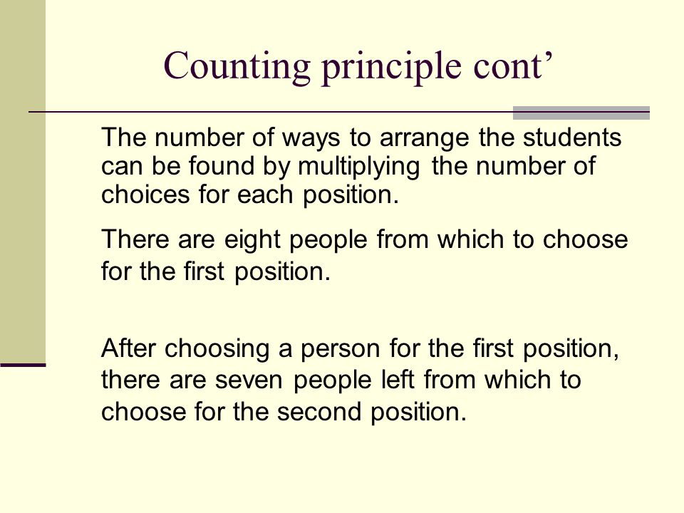 Counting principle cont'
