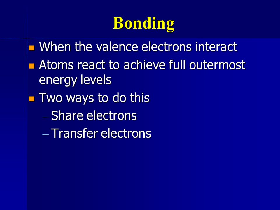 Bonding When the valence electrons interact