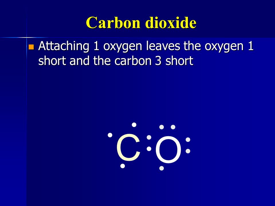 Carbon dioxide Attaching 1 oxygen leaves the oxygen 1 short and the carbon 3 short C O