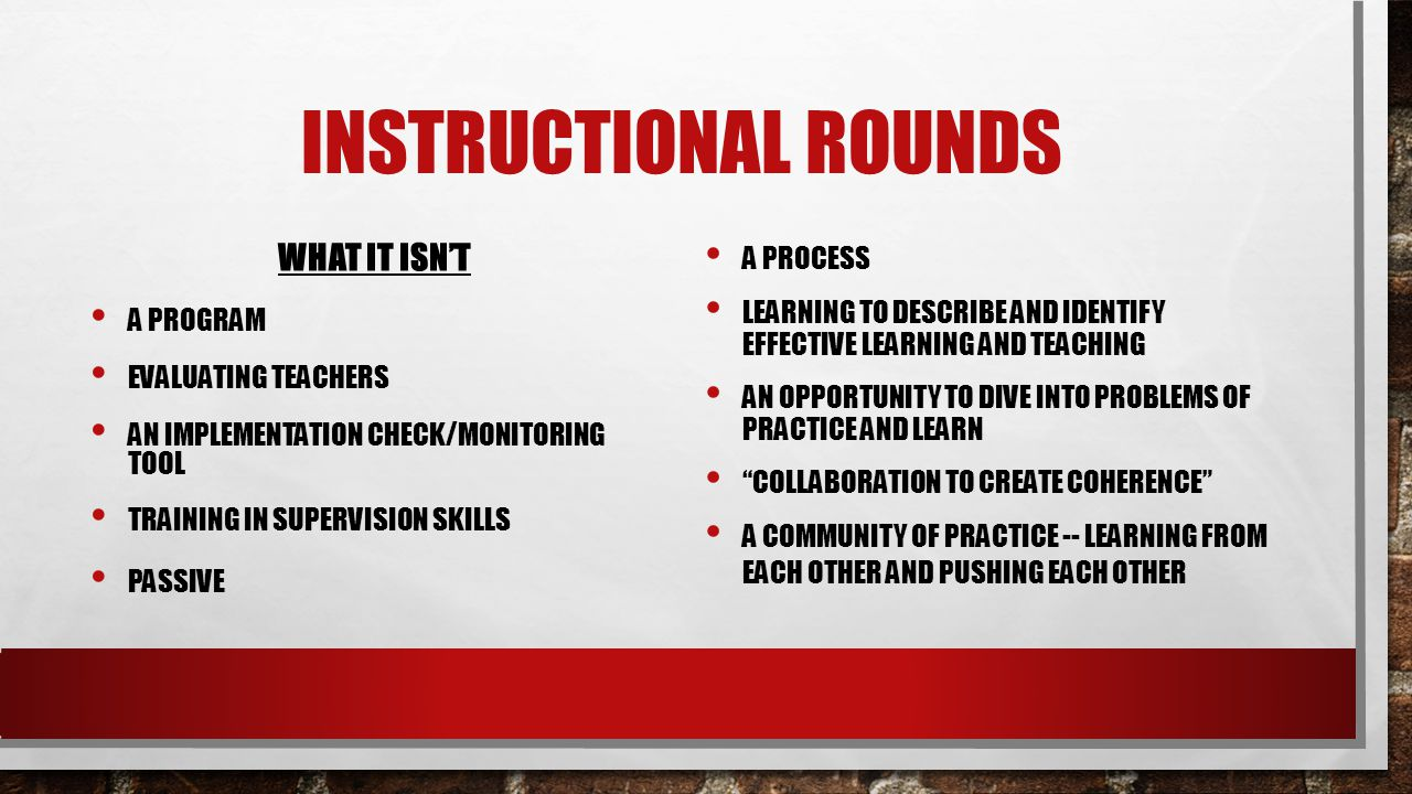 Instructional Rounds What it isn't A process