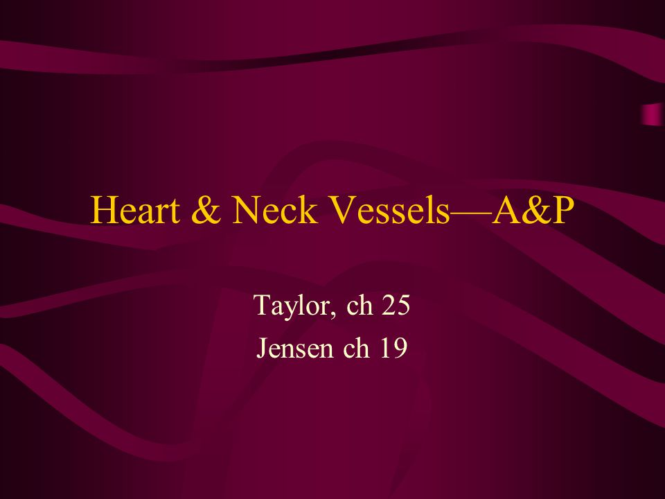 Heart & Neck Vessels—A&P