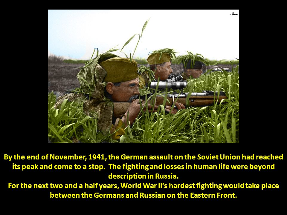 By the end of November, 1941, the German assault on the Soviet Union had reached its peak and come to a stop. The fighting and losses in human life were beyond description in Russia.