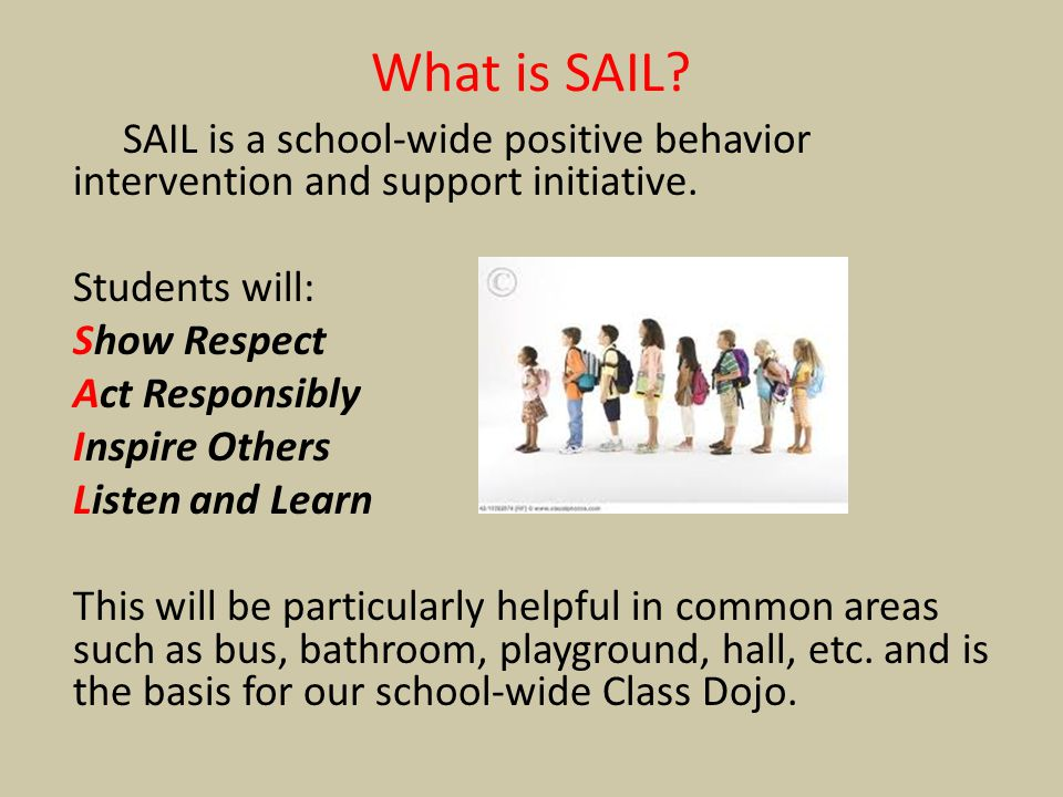 What is SAIL SAIL is a school-wide positive behavior intervention and support initiative. Students will: