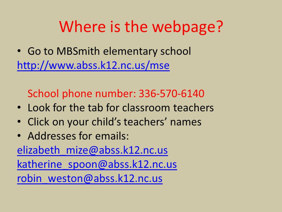 Where is the webpage Go to MBSmith elementary school