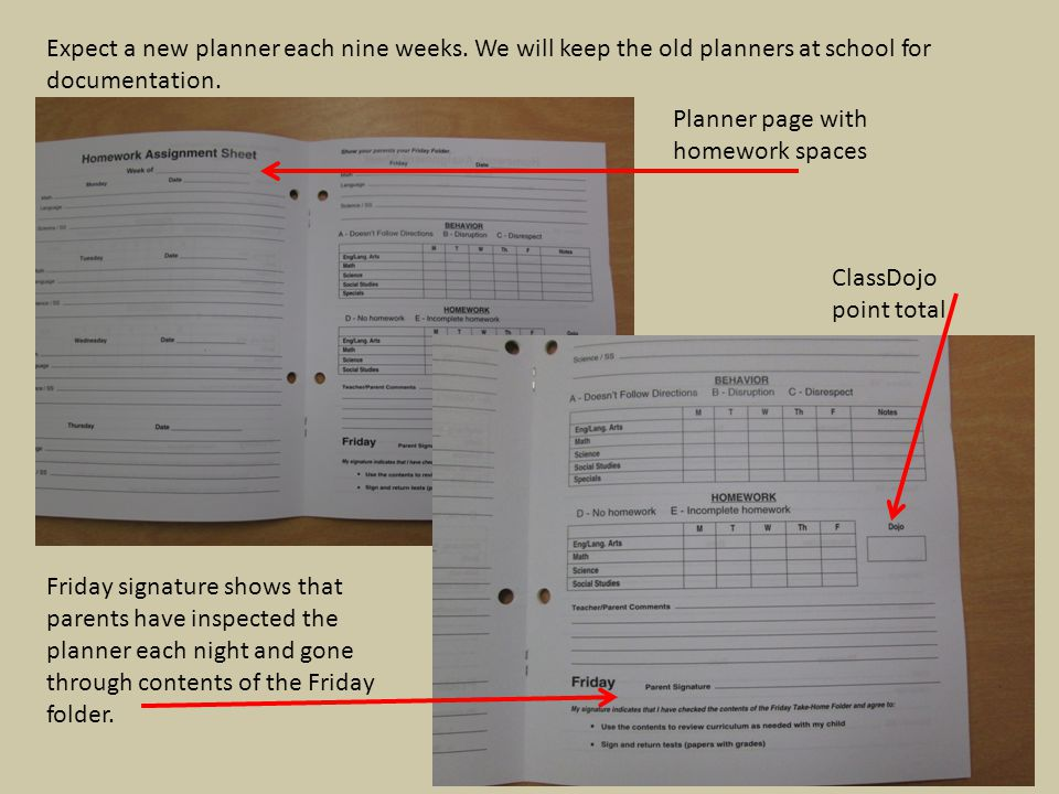 Expect a new planner each nine weeks