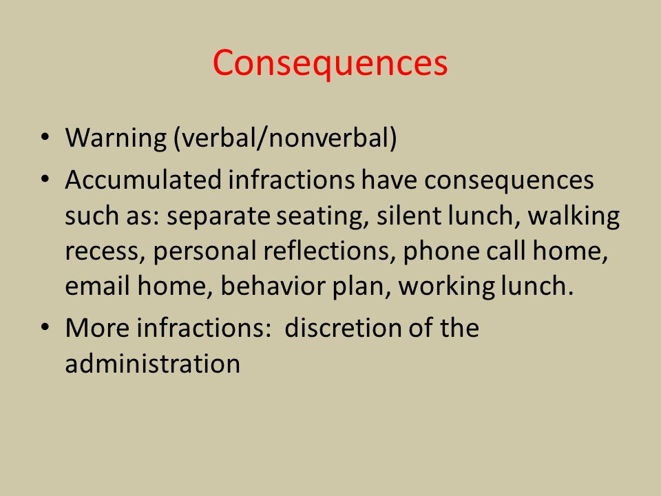 Consequences Warning (verbal/nonverbal)