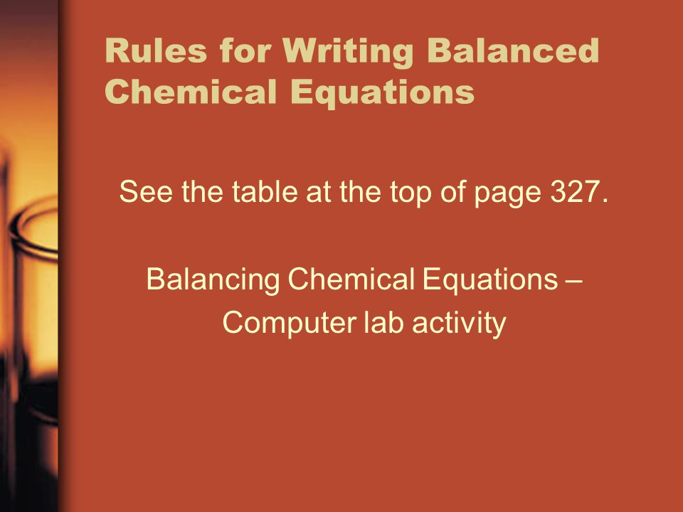 Rules for Writing Balanced Chemical Equations