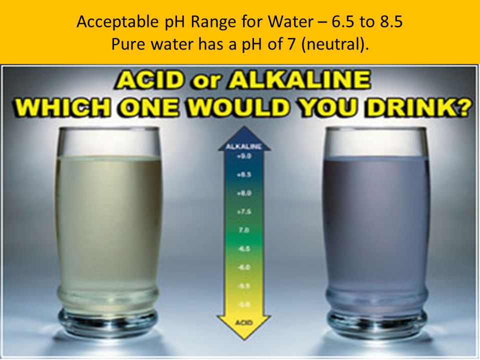 Acceptable pH Range for Water – 6. 5 to 8