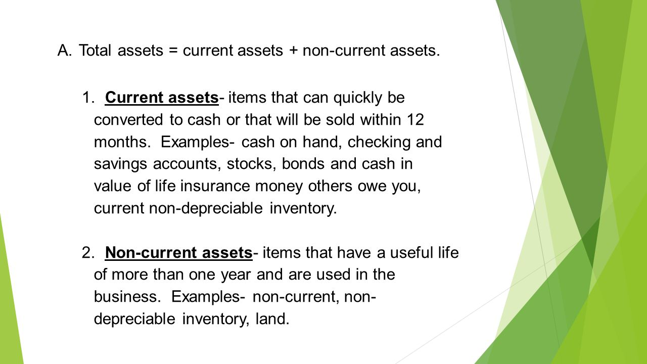 A. Total assets = current assets + non-current assets.