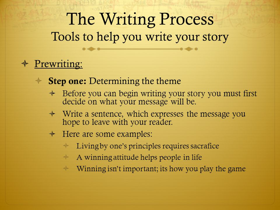 The Writing Process Tools to help you write your story