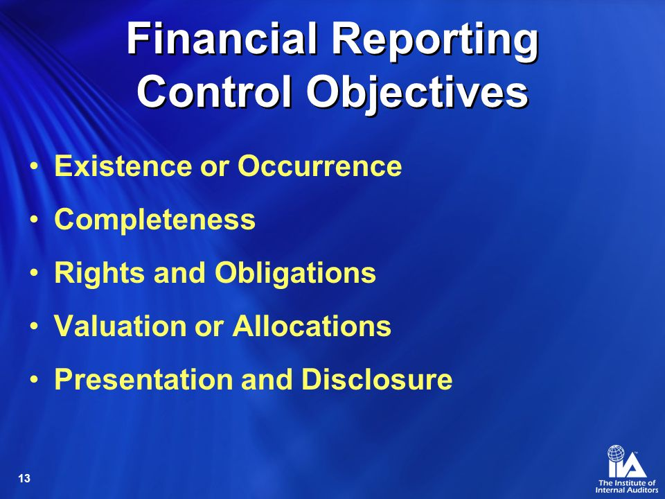 Financial Reporting Control Objectives