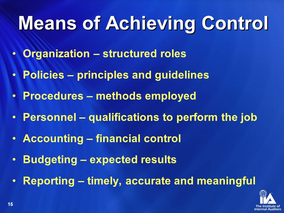 Means of Achieving Control