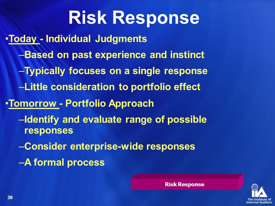 Risk Response Today - Individual Judgments