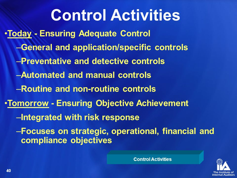 Control Activities Today - Ensuring Adequate Control