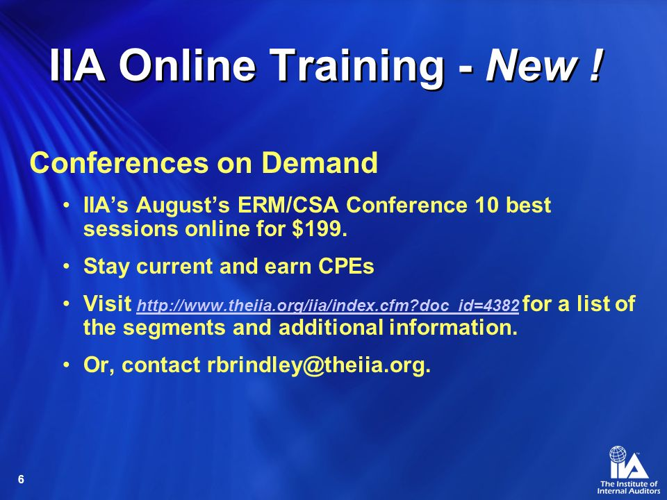 IIA Online Training - New !