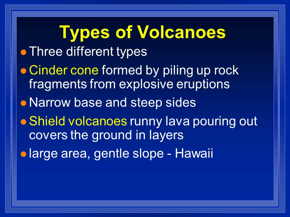 Types of Volcanoes Three different types