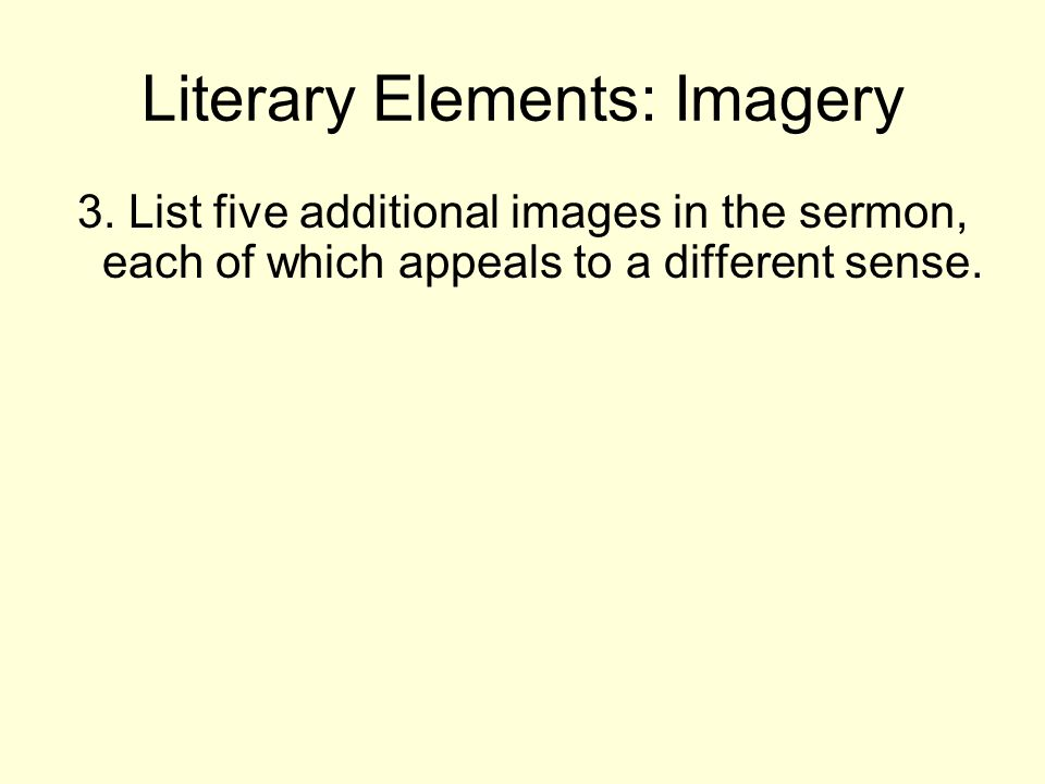 Literary Elements: Imagery