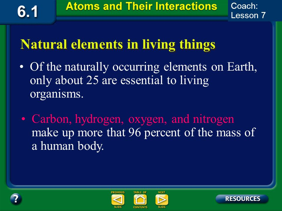Natural elements in living things