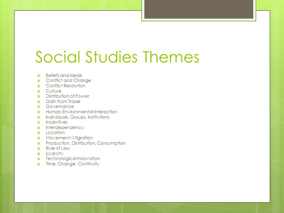 Social Studies Themes Beliefs and Ideals Conflict and Change