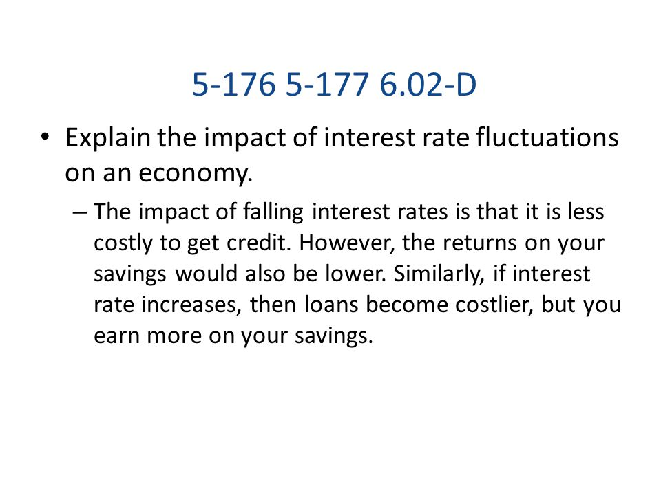 5-176 5-177 6.02-D Explain the impact of interest rate fluctuations on an economy.