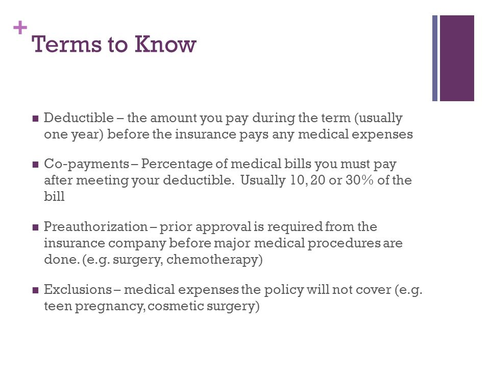 Terms to Know Deductible – the amount you pay during the term (usually one year) before the insurance pays any medical expenses.