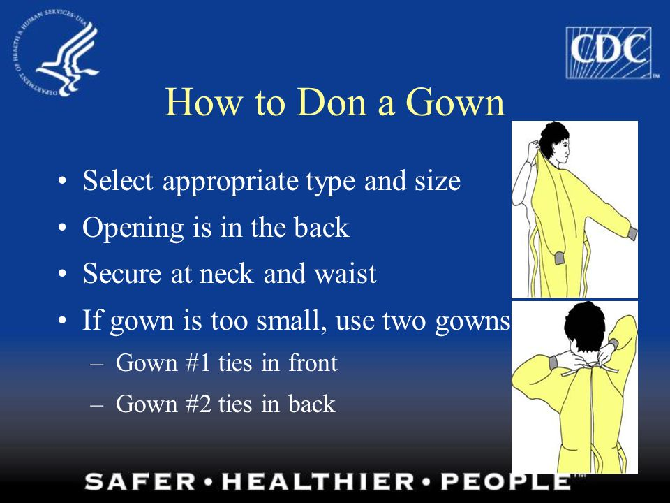How to Don a Gown Select appropriate type and size