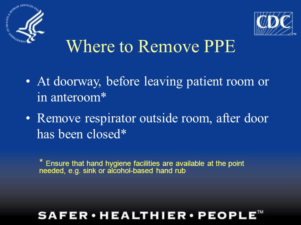 Where to Remove PPE At doorway, before leaving patient room or in anteroom* Remove respirator outside room, after door has been closed*