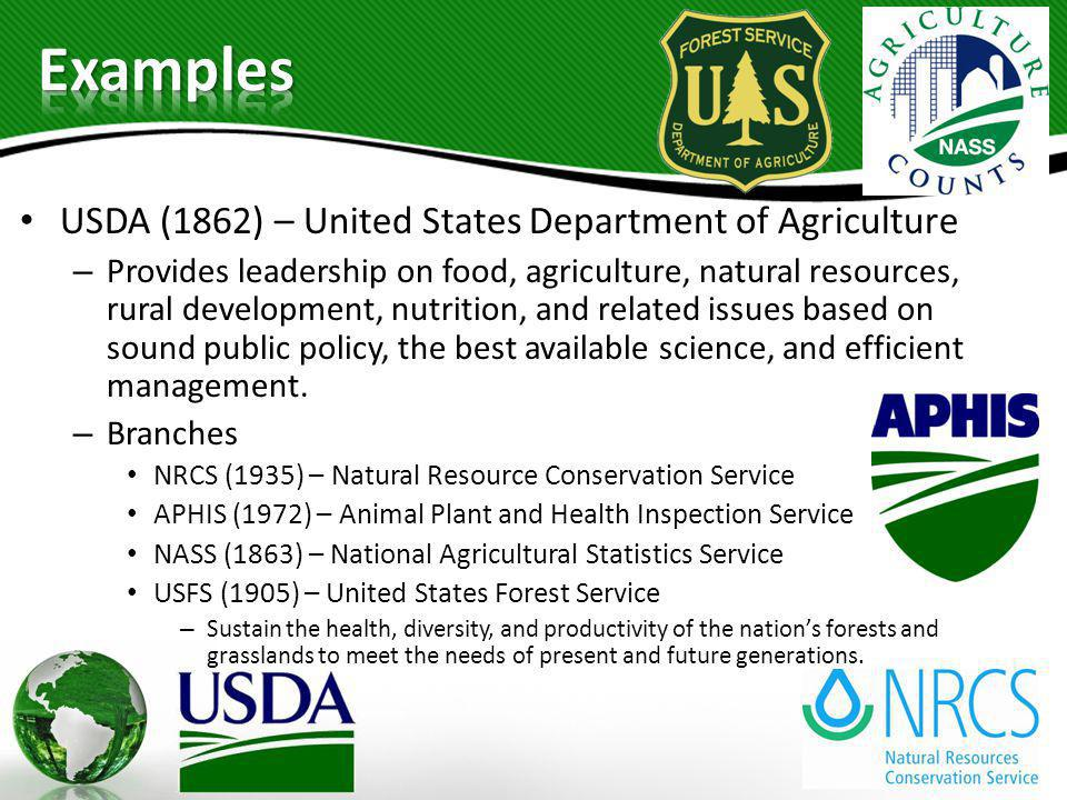 Examples USDA (1862) – United States Department of Agriculture