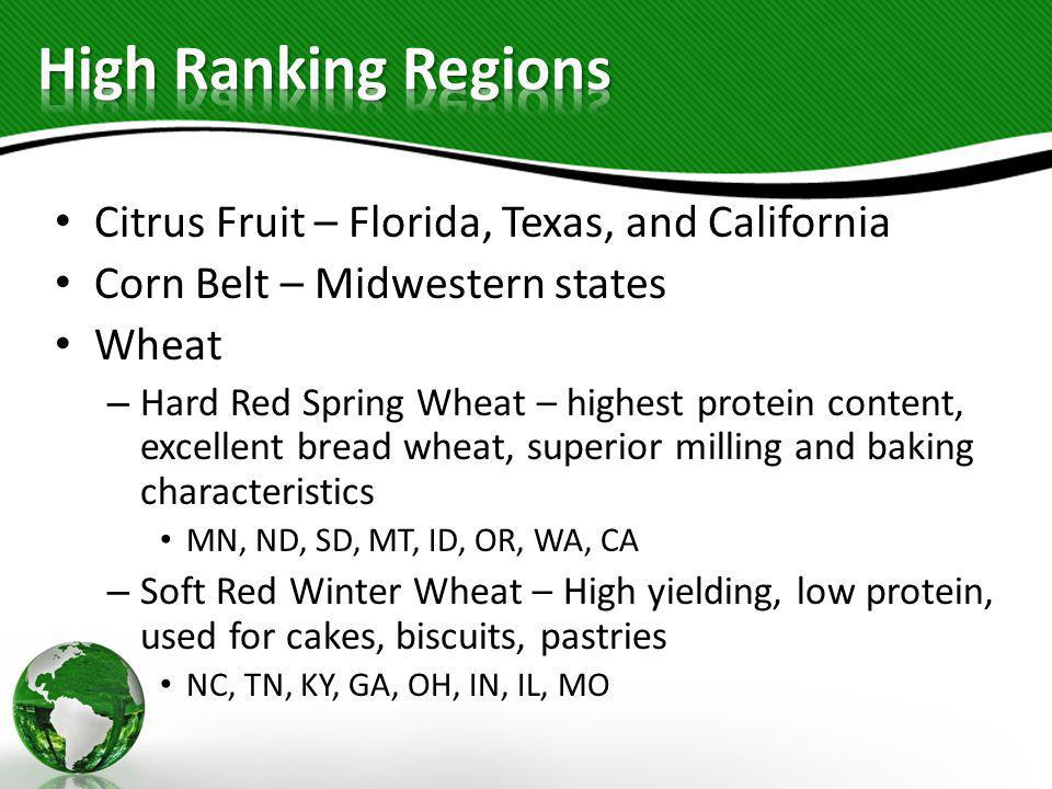 High Ranking Regions Citrus Fruit – Florida, Texas, and California