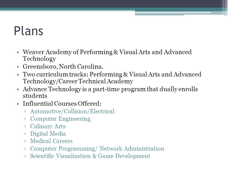 Plans Weaver Academy of Performing & Visual Arts and Advanced Technology. Greensboro, North Carolina.