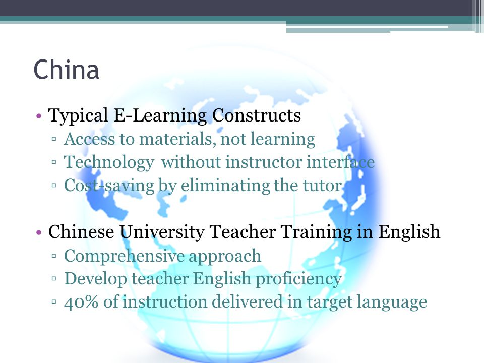 China Typical E-Learning Constructs