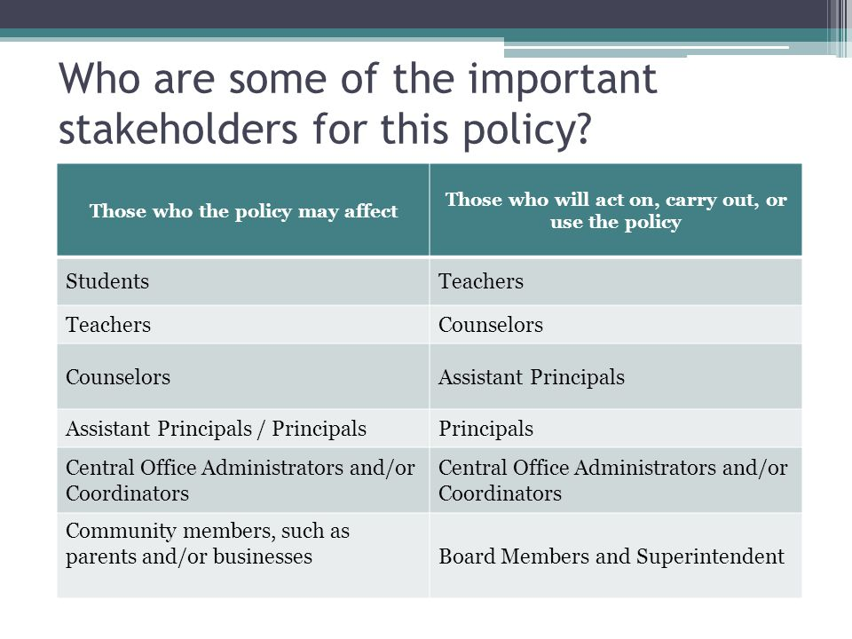 Who are some of the important stakeholders for this policy