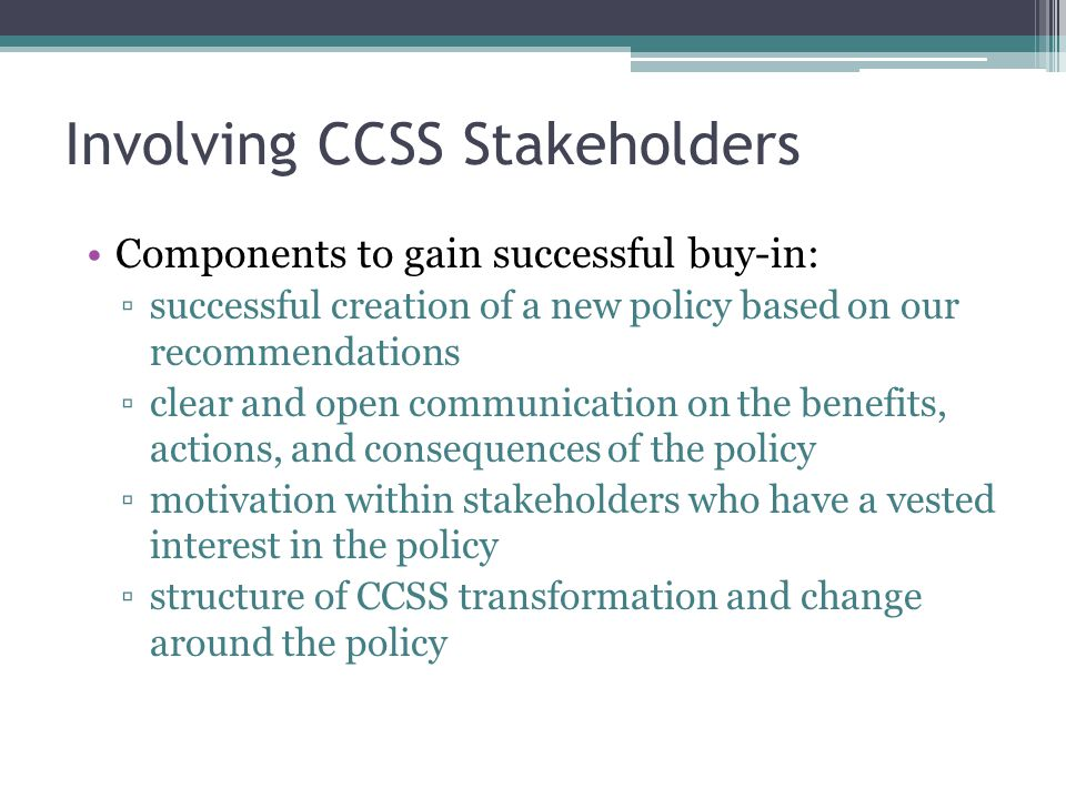 Involving CCSS Stakeholders