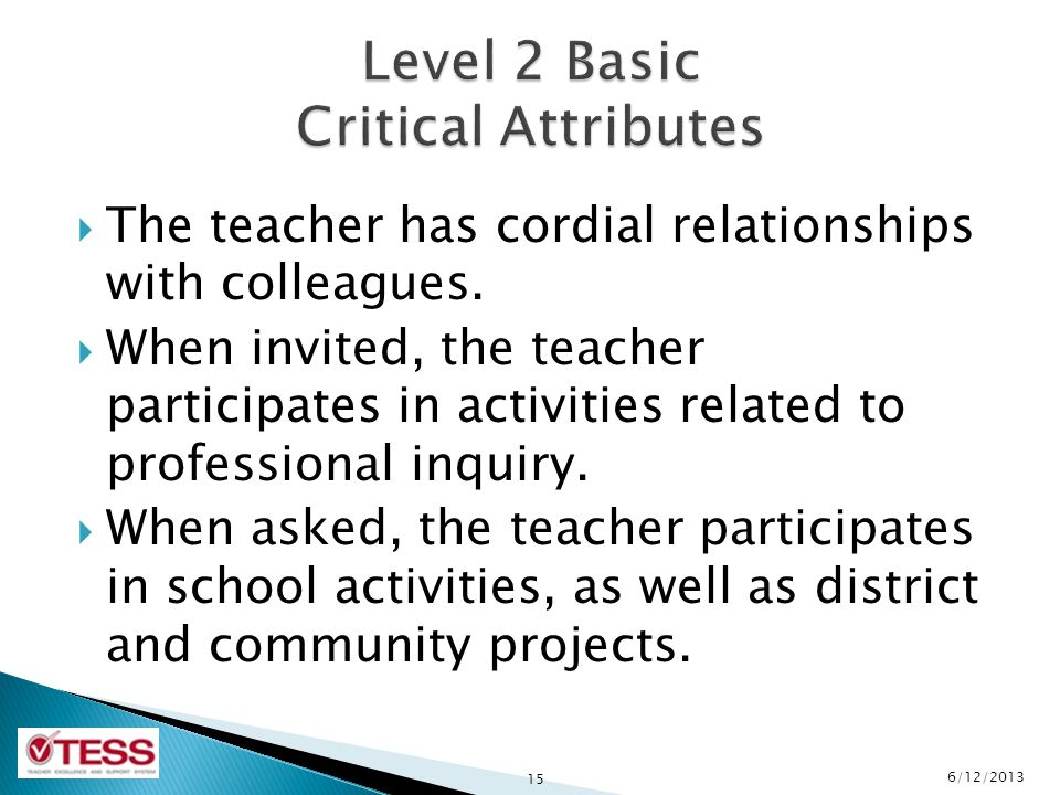 Level 2 Basic Critical Attributes