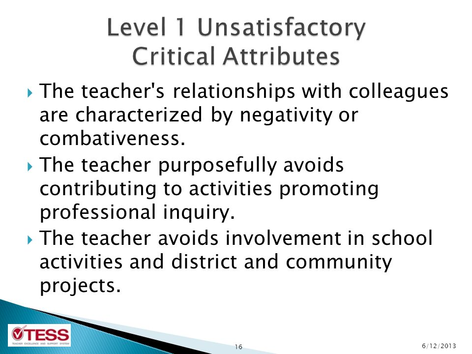 Level 1 Unsatisfactory Critical Attributes