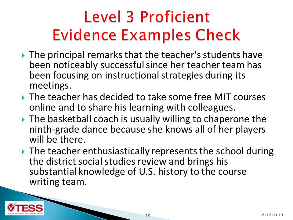 Level 3 Proficient Evidence Examples Check